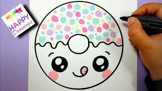donut draw easy drawing cartoon super
