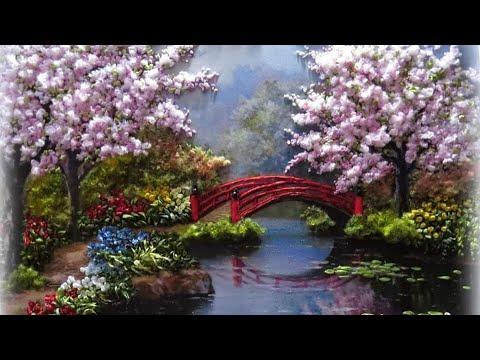 "Japanese Garden, Sakura. ""Японский сад"" (40*50см)."