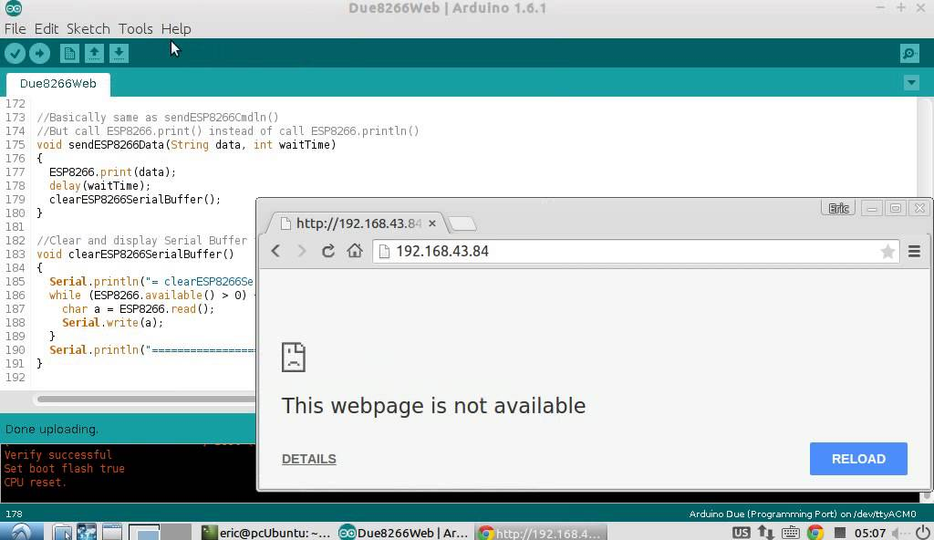 Arduino + ESP8266 - a simpe web server response with HTML
