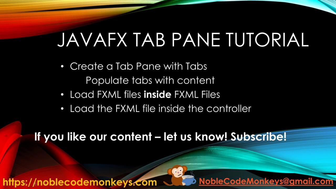 JavaFX Tab Pane and nested FXML files - Noble Code Monkeys