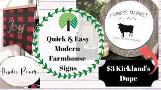 3 DOLLAR TREE FARMHOUSE SIGNS | Quick & Easy FARMHOUSE DECOR| All UNDER $3 | Kirkland's Inspired