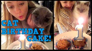 HOW TO MAKE CAT BIRTHDAY CAKE! | CHRIS & EVE