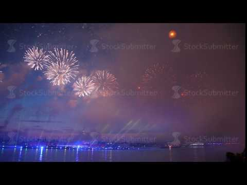 the fireworks on the waterfront in Saint-Petersburg
