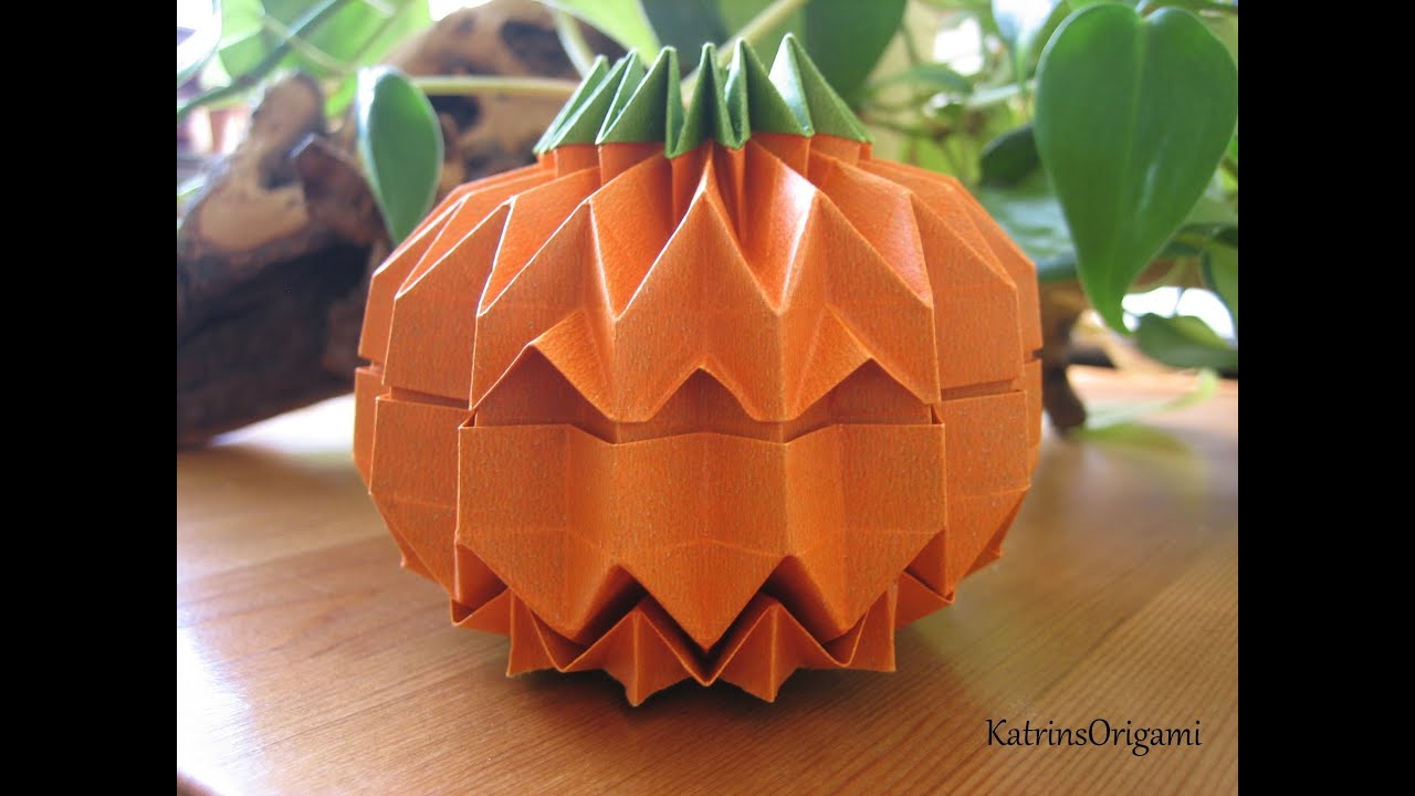 "Origami Jack O´ Lantern how to fold a ""Grid"" - YouTube"