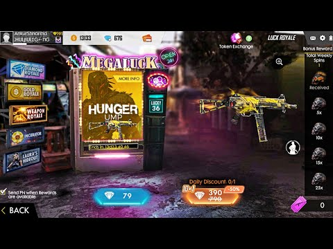 HUNGER UMP IN FREE FIRE WEAPON ROYALE    NEW LEGENDARY GUN SKIN IN LUCK ROYALE