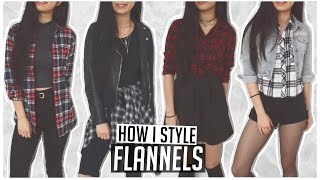 How I Style ♡ Flannels/Plaid Shirts // 4 Everyday Casual Outfit Ideas ♡ Appropriate For School