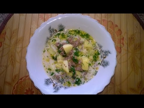 Суп с мясным фаршем в мультиварке