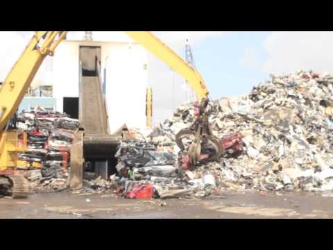 """Crush the Bus"" at SA Recycling on Terminal Island"