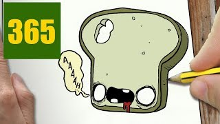 HOW TO DRAW A ZOMBIE TOAST CUTE, Easy step by step drawing lessons for kids