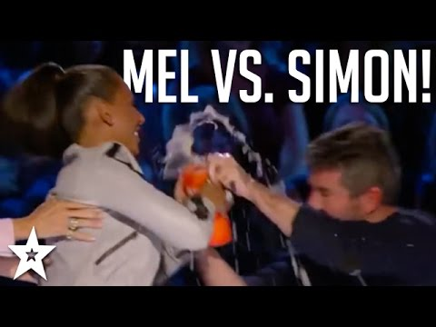 GOT TALENT JUDGES WATER FIGHT! Simon Cowell Vs Mel B on America's Got Talent