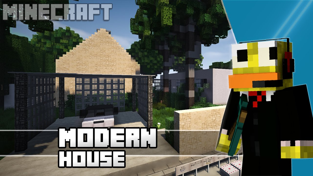 minecraft epic small modern house build review wok 60fps