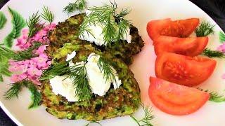 Для легкого и вкусного завтрака Кабачковые оладьи с овсянкой. Зеленые оладьи.