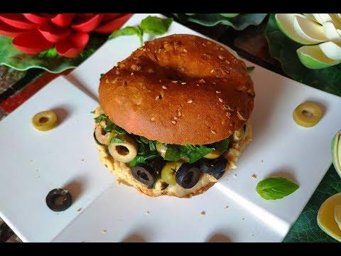 Bagel Sandwich | Hummus & Bagel Sandwich | Hummus Recipe