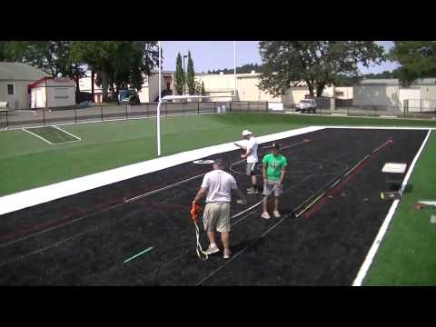 """AFD: """"EAGLES"""" painted in the endzone of Santiam Christian High School"""