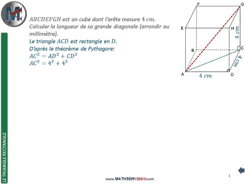 Exercice: Calcul d'hypoténuse par Pythagore - YouTube