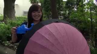 濡れると柄が出る不思議な傘.