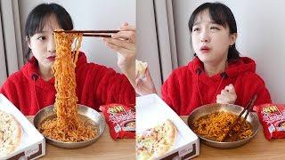 뉴 핵불닭볶음면 먹방 (feat.더블 포테이토 피자) _ 눈물이 차올라서 고갤들어🎶 :D