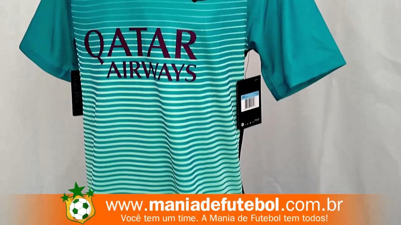 Camisa Jogo 3 Barcelona Nike 2016 17 Verde Água - YouTube 9b0ac00e138d3
