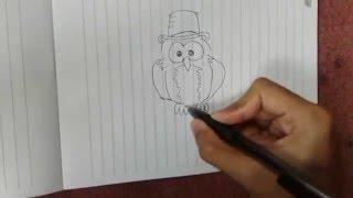 Cara Menggambar Hewan Binatang Burung Hantu Kartun Animasi Dengan Pensil, How To Draw An Animal Owl