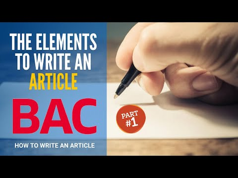 Article Writing Part 1: The Different And Essential Elements To Write A Good Article