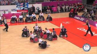 U.S. wheelchair rugby beats Great Britain - London 2012 Paralympic Games