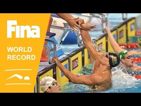Brazil   World Record 4x50m Medley   2014 FINA World Swimming Championships Doha