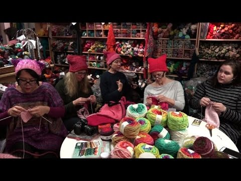 Women knitting 'pussy hats' for Trump inauguration protest