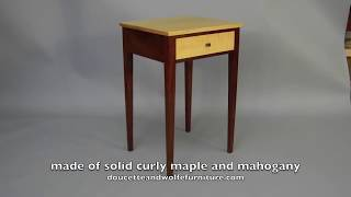Custom End Table Handmade Of Tiger Maple And Mahogany By Doucette And Wolfe Furniture Makers