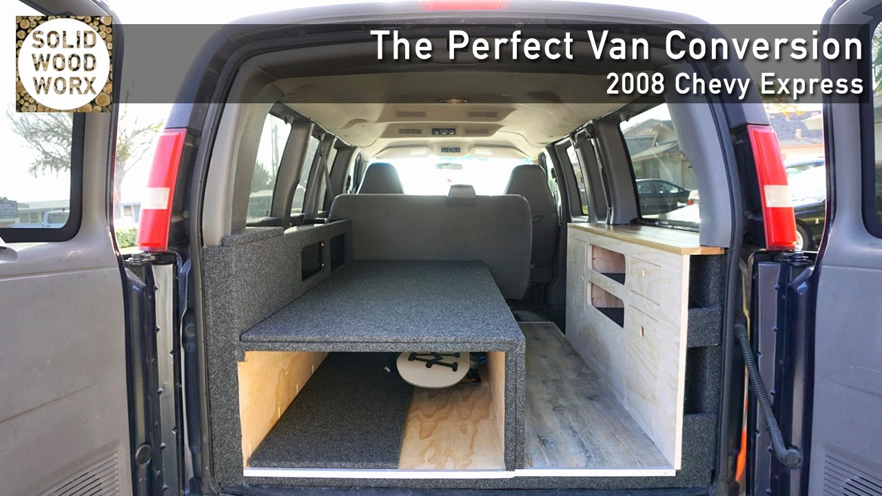 Perfect Van Covnersion with collapable bed and kitchen area! - YouTube