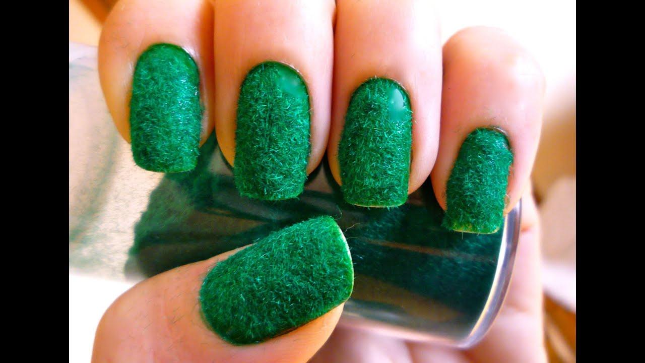 Unhas de veludo ou de pelúcia verde