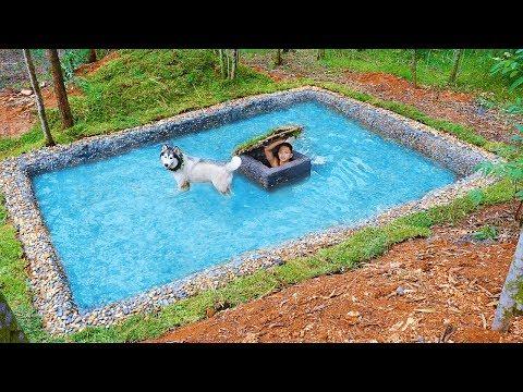 Build Secret Underwater House Inside Dog Swimming Pool