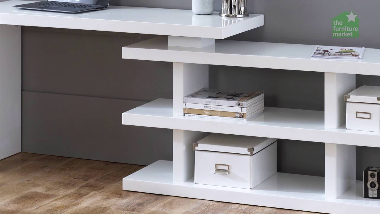 White High Gloss Desk With Swivel Bookcase