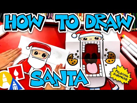 How To Draw Crazy Cookie Santa Puppet (Folding Surprise)