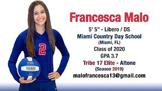 Francesca Malo - 2018 Club & High School Volleyball Highlights 🏐🏐 Class of 2020 🏐🏐