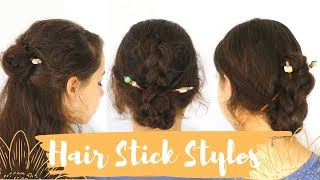 How to use Hair sticks | 3 Beginner Hair stick hairstyles