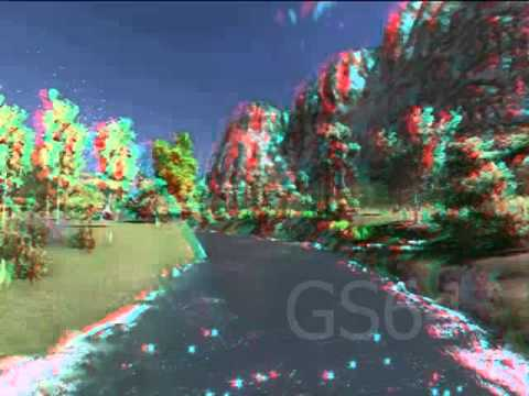3D Landscape and garden design , anaglyph stereo