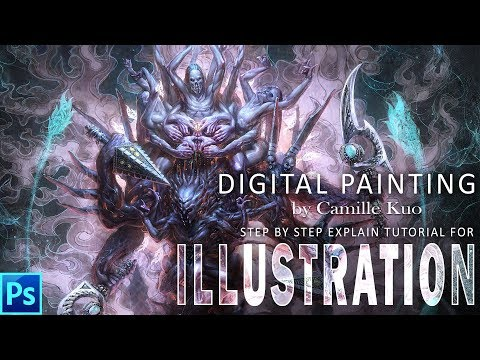 Tutorial video of creating digital art character illustration step by step explains