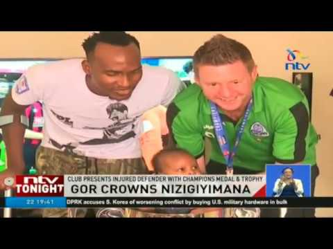 Champions Gor Mahia present injured defender with KPL trophy and medal