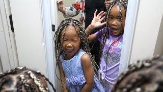 Blasian Girls got their first braids ever!!! | Mixed kids Box Braids Hair Vlog ep.185