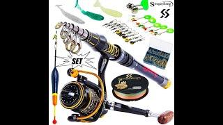 Professional Fishing Rod Combos Full Kits Telescopic Fishing Sea Rod Spinning Reel Baits Hooks Set