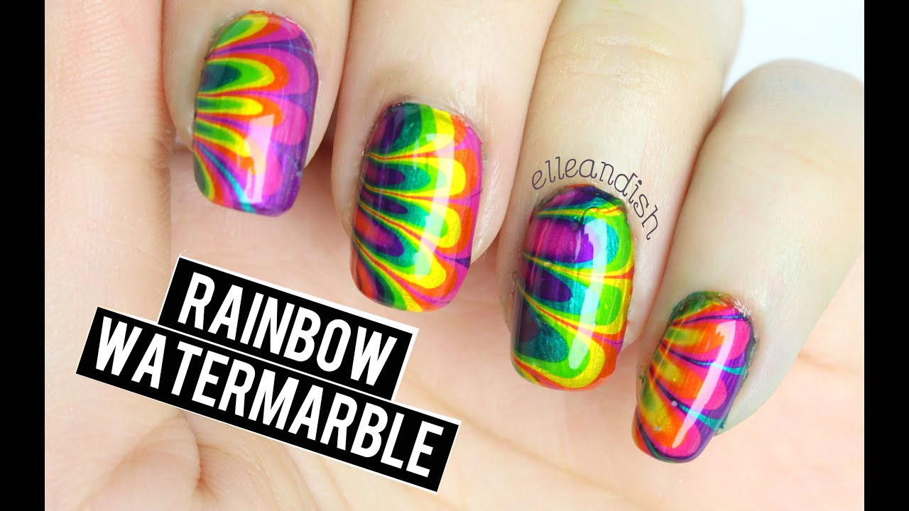 Rainbow watermarble nails youtube prinsesfo Image collections