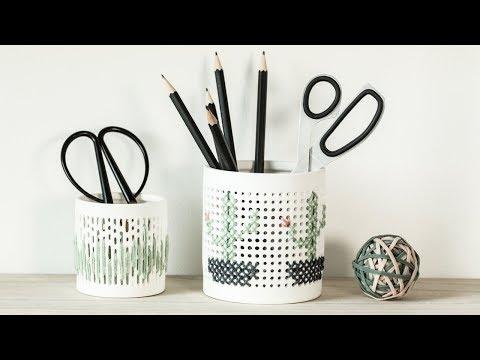 DIY : Embroidery on ceramics by Søstrene Grene
