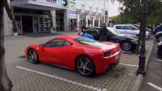 Ferrari 458 Italia parked by Hotel Danube in Bratislava