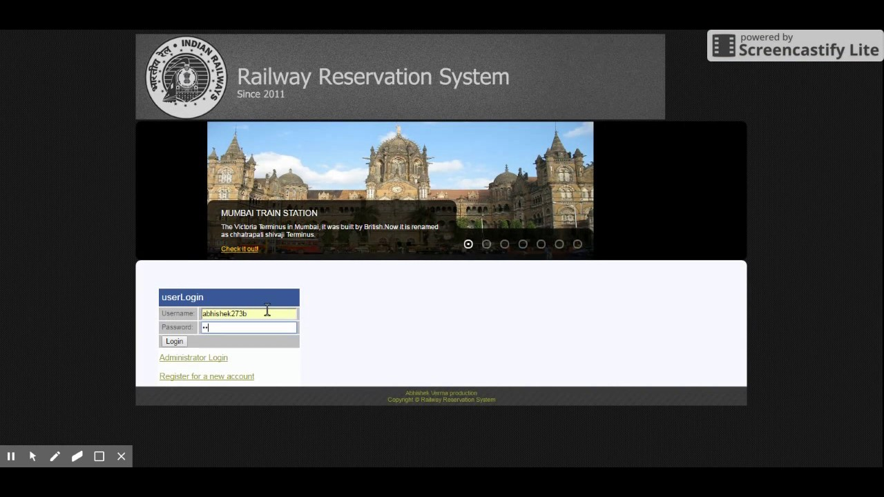 online railway reservation system php project