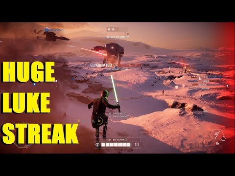 Star Wars Battlefront 2 - How to use Luke Skywalker in GA! | Huge Luke killstreak!