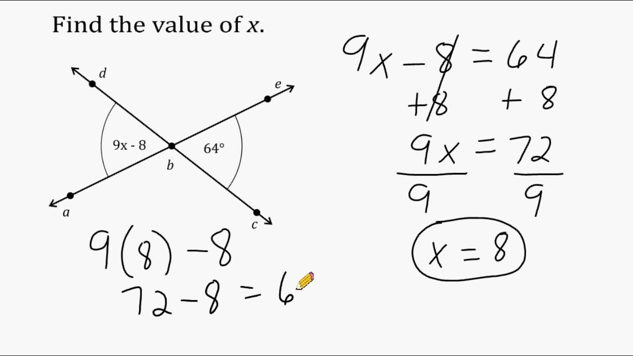 medium resolution of Solving Equations Using Vertical Angles - YouTube