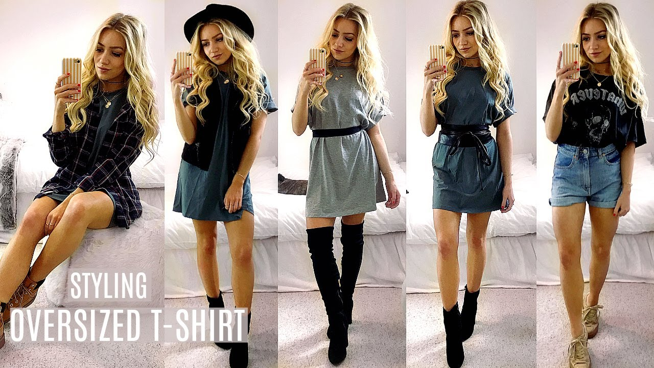 How To Style Oversized T-Shirts!   Boyfriend T-Shirts Lookbook Outfit Ideas a162700633bc