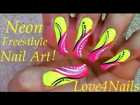 Neon Poppin Freestyle Easy Nail Art Tutorial - Neon Poppin Freestyle Easy Nail Art Tutorial - YouTube