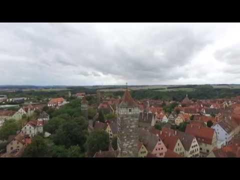 Rothenburg ob der Tauber von Luft mit Drohne gefilmt. Drone footage of Rothenburg(Tauber)