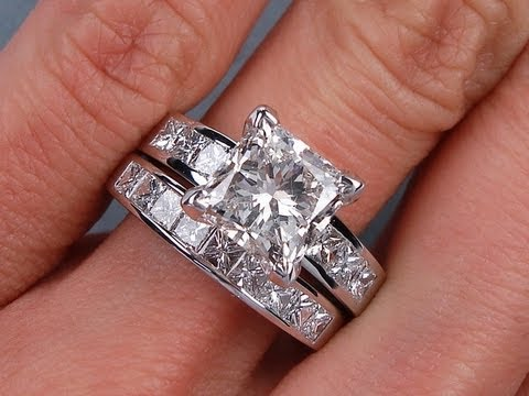 4.52 ctw Princess Cut H SI1 Diamond Engagement Ring Set